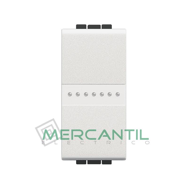 Conmutador Iluminable Axial 1 Modulo Living Light BTICINO - Embornamiento Automatico Blanco