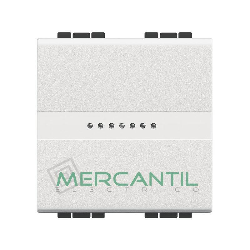 Conmutador Iluminable Axial 2 Modulos Living Light BTICINO - Embornamiento Automatico Blanco