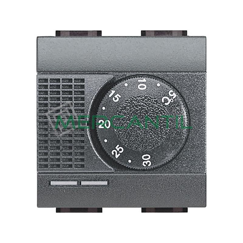 Termostato Estandar con Conmutador 2 Modulos Living Light BTICINO Antracita