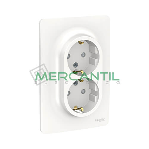 Base de Enchufe Schuko Doble Monobloc 2P+T 16A 1 Modulo New Unica SCHNEIDER ELECTRIC - Embornamiento a Tornillo Blanco