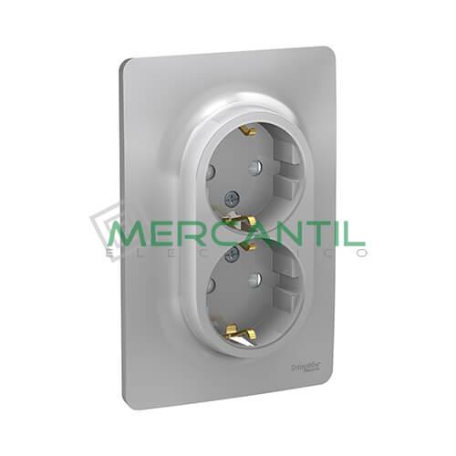 Base de Enchufe Schuko Doble Monobloc 2P+T 16A 1 Modulo New Unica SCHNEIDER ELECTRIC - Embornamiento a Tornillo Aluminio