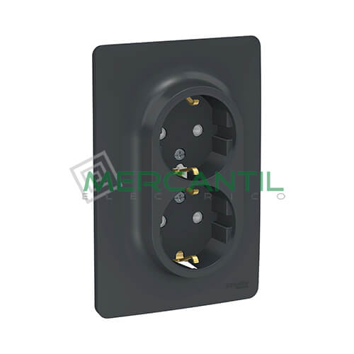 Base de Enchufe Schuko Doble Monobloc 2P+T 16A 1 Modulo New Unica SCHNEIDER ELECTRIC - Embornamiento a Tornillo Antracita