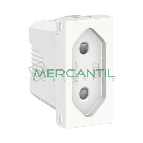 Base Enchufe 2P 10A 1 Modulo New Unica SCHNEIDER ELECTRIC - Embornamiento a Tornillo Blanco