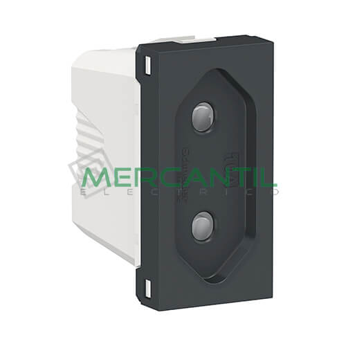 Base Enchufe 2P 10A 1 Modulo New Unica SCHNEIDER ELECTRIC - Embornamiento a Tornillo Antracita