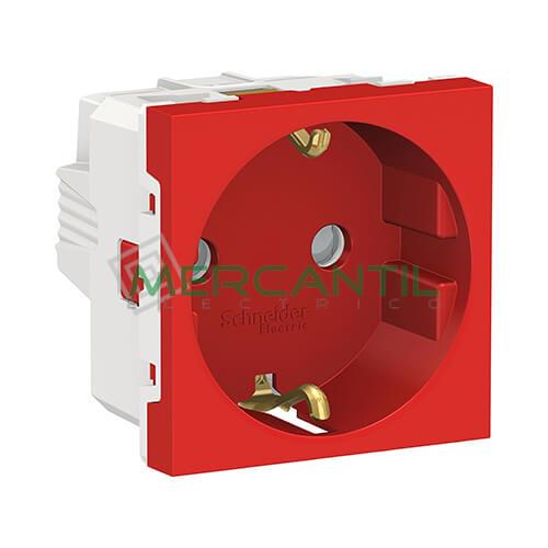 Base de Enchufe Schuko 2P+T 16A 2 Modulos New Unica SCHNEIDER ELECTRIC - Embornamiento a Tornillo Rojo