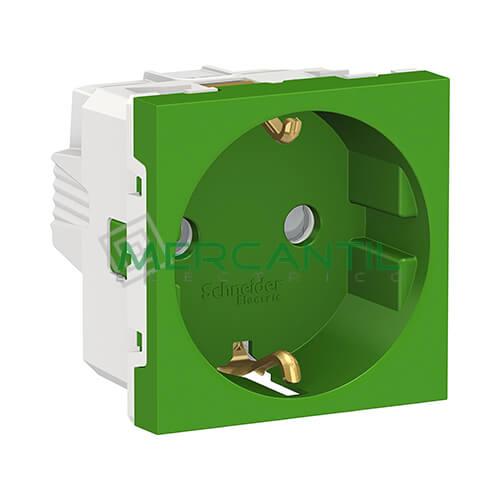 Base de Enchufe Schuko 2P+T 16A 2 Modulos New Unica SCHNEIDER ELECTRIC - Embornamiento a Tornillo Verde