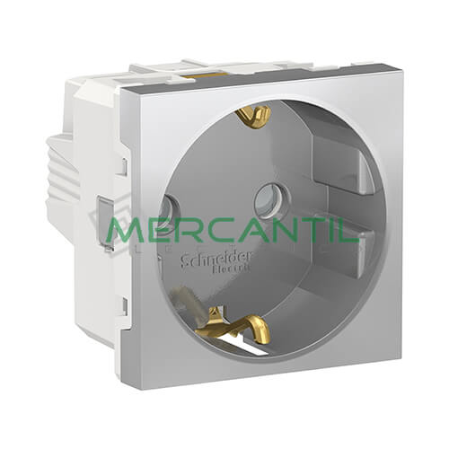 Base de Enchufe Schuko 2P+T 16A 2 Modulos New Unica SCHNEIDER ELECTRIC - Embornamiento a Tornillo Aluminio