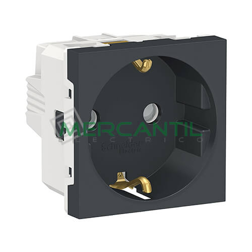 Base de Enchufe Schuko 2P+T 16A 2 Modulos New Unica SCHNEIDER ELECTRIC - Embornamiento a Tornillo Antracita
