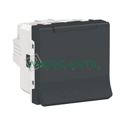 Base de Enchufe Schuko con Tapa 2P+T 16A 2 Modulos New Unica SCHNEIDER ELECTRIC - Embornamiento a Tornillo Antracita