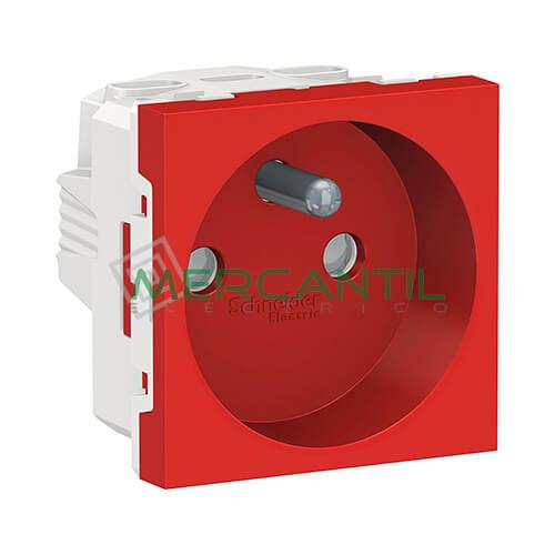 Base de Corriente Espiga Saliente 2P+T 16A 2 Modulos New Unica SCHNEIDER ELECTRIC - Embornamiento a Tornillo Rojo