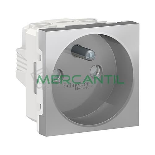 Base de Corriente Espiga Saliente 2P+T 16A 2 Modulos New Unica SCHNEIDER ELECTRIC - Embornamiento a Tornillo Aluminio