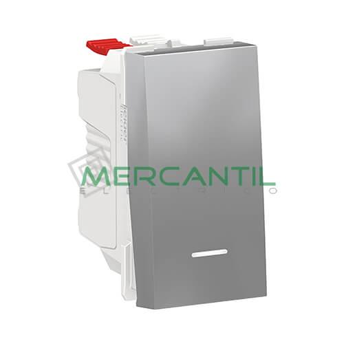 Pulsador con Luminoso 1 Modulo New Unica SCHNEIDER ELECTRIC Aluminio