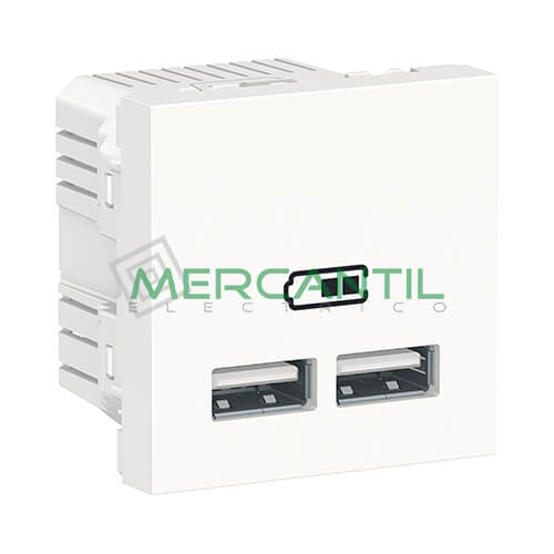Base Doble USB para Recarga con Tension 5V 2 Modulos New Unica SCHNEIDER ELECTRIC Blanco