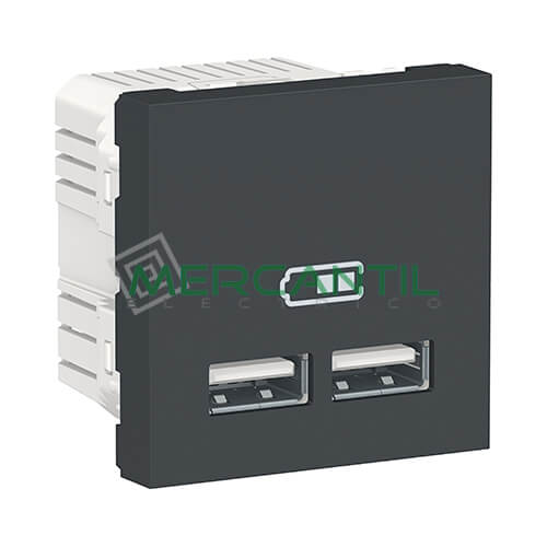 Base Doble USB para Recarga con Tension 5V 2 Modulos New Unica SCHNEIDER ELECTRIC Antracita