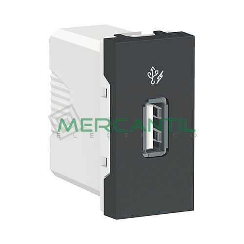 Base USB para Recarga con Tension 5V 1 Modulo New Unica SCHNEIDER ELECTRIC Antracita