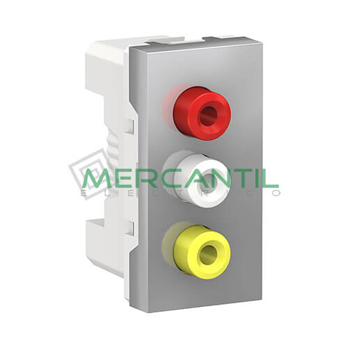 Base Audio/Video 3xRCA 1 Modulo New Unica SCHNEIDER ELECTRIC Aluminio