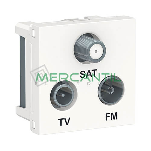 Base Derivacion Unica R-TV-SAT 2 Modulos New Unica SCHNEIDER ELECTRIC Blanco