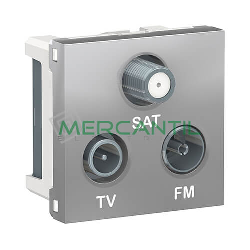 Base Derivacion Unica R-TV-SAT 2 Modulos New Unica SCHNEIDER ELECTRIC Aluminio