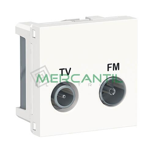 Base Final TV-FM 2 Modulos New Unica SCHNEIDER ELECTRIC Blanco