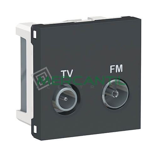 Base Derivacion TV-FM 2 Modulos New Unica SCHNEIDER ELECTRIC Antracita