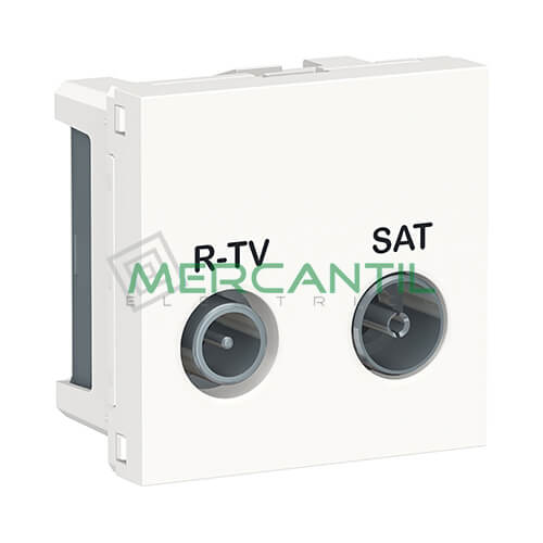 Base Final R-TV/SAT 2 Modulos New Unica SCHNEIDER ELECTRIC Blanco
