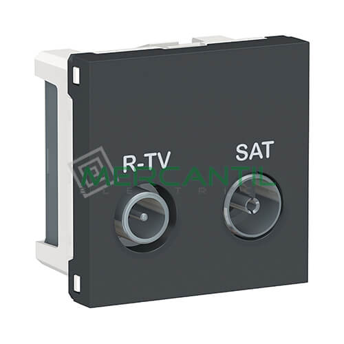 Base Final R-TV/SAT 2 Modulos New Unica SCHNEIDER ELECTRIC Antracita