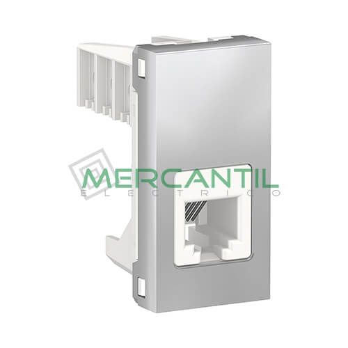 Base de Telefono RJ12 1 Modulo New Unica SCHNEIDER ELECTRIC - 6 Contactos Aluminio