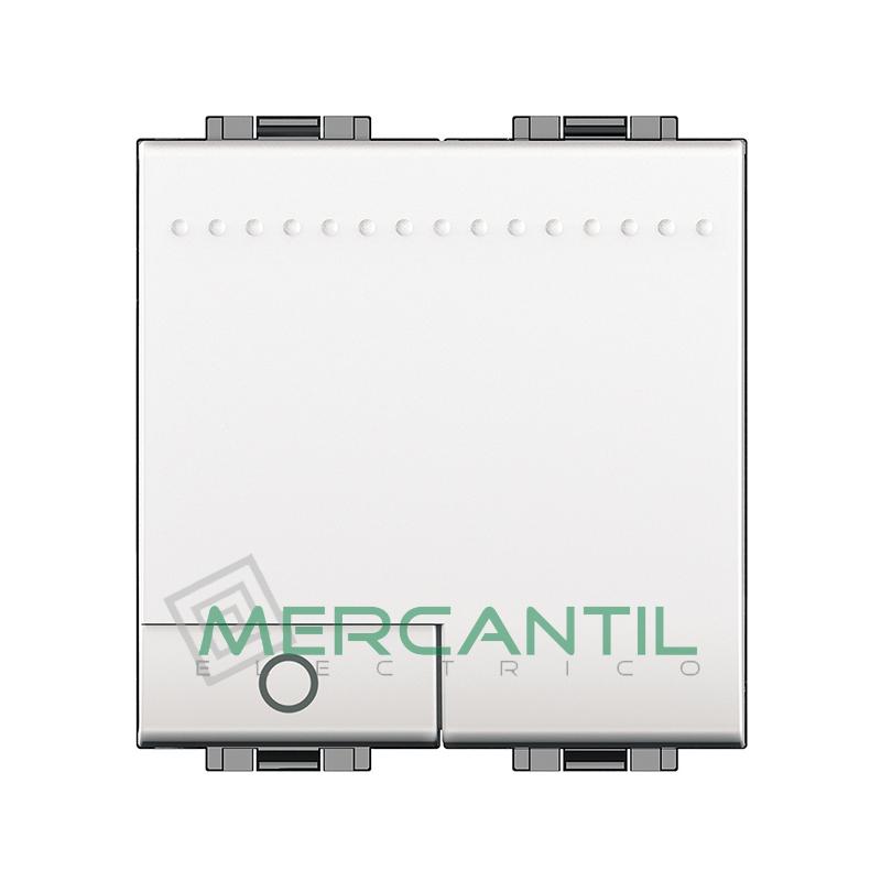 Pulsador Iluminable 2 Modulos Living Light BTICINO - Simbolo Lampara Blanco