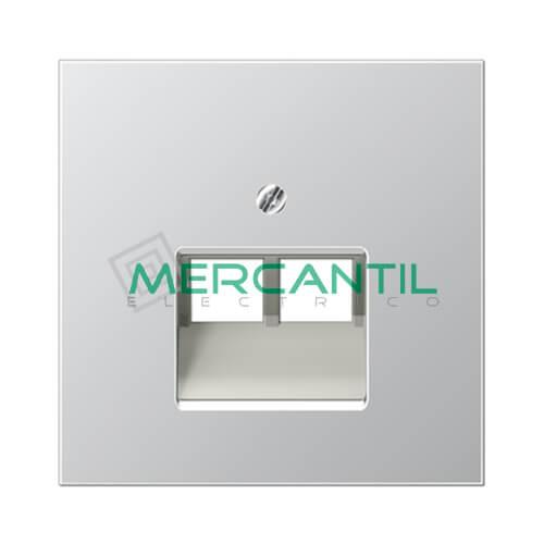 Placa para Toma de Telefono RJ11 UAE LS990 JUNG - 2 Conectores Aluminio