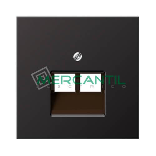 Placa para Toma de Telefono RJ11 UAE LS990 JUNG - 2 Conectores Dark