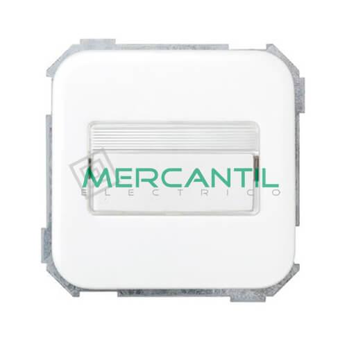 Conmutador con Porta-Rotulos con Luminoso Incorporado SIMON 31 Blanco Nieve