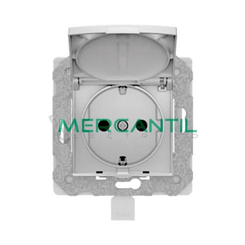 Base de Enchufe Bipolar IP44 con Toma Tierra y Tapa sin Garras BJC VIVA - Embornamiento Automatico Plata Luna