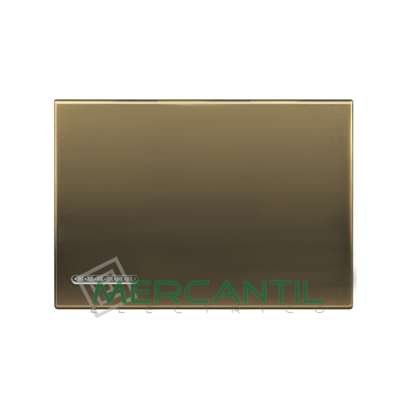 Tecla Basculante Metalica Iluminable 3 Modulos Living Light BTICINO - Placas Cuadradas Bronce