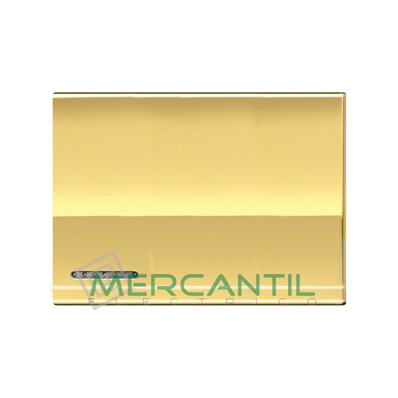 Tecla Basculante Metalica Iluminable 3 Modulos Living Light BTICINO - Placas Cuadradas Oro Frio
