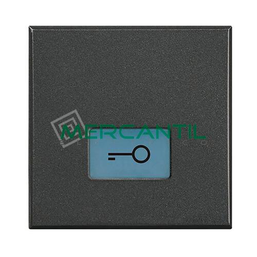 Tecla Axial con Lente y Simbolo Iluminable 2 Modulos Axolute BTICINO - Simbolo Llave Antracita