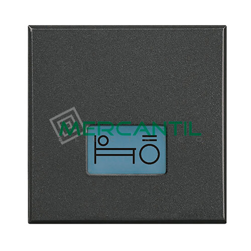 Tecla Axial con Lente y Simbolo Iluminable 2 Modulos Axolute BTICINO - Simbolo Luz Cama Antracita