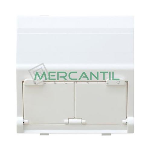 Adaptador Informatico Inclinado AMP/SYSTIMAX para UTP/FTP/Telefono SIMON 75 - 2 Conectores Blanco Nieve