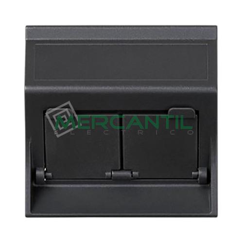 Adaptador Informatico Inclinado AMP/SYSTIMAX para UTP/FTP/Telefono SIMON 75 - 2 Conectores Grafito