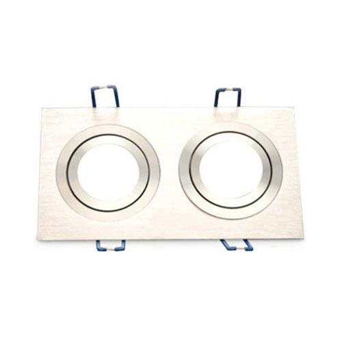 Aro basculante rectangular doble empotrable/liso GU10 Max.2x50W para bombillas dicroicas aluminio GSC