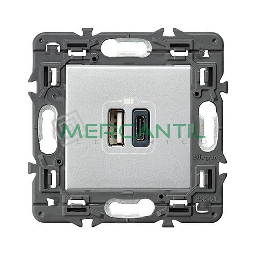 base-cargador-usb-doble-tipo-a-c-aluminio-valena-next-legrand-741332