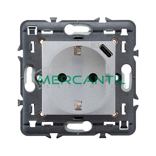 base-corriente-2p-t-usb-tipo-c-aluminio-valena-next-legrand-741334