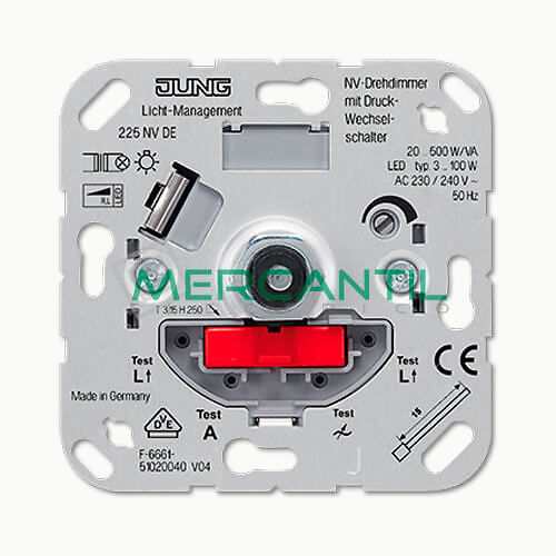 Dimmer Giratorio con Conmutador 20-500VA/W LS990 JUNG - Embornamiento Automatico