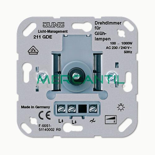 Dimmer Giratorio con Conmutador Protegido contra Cortocircuito 100-1000W LS990 JUNG