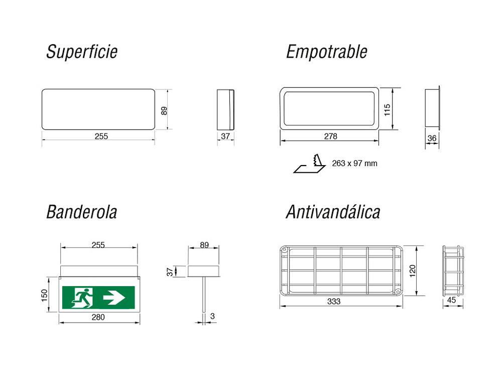 dimensiones-emergencia-led-autotest-300lm-evolution-sagelux-evo-300st