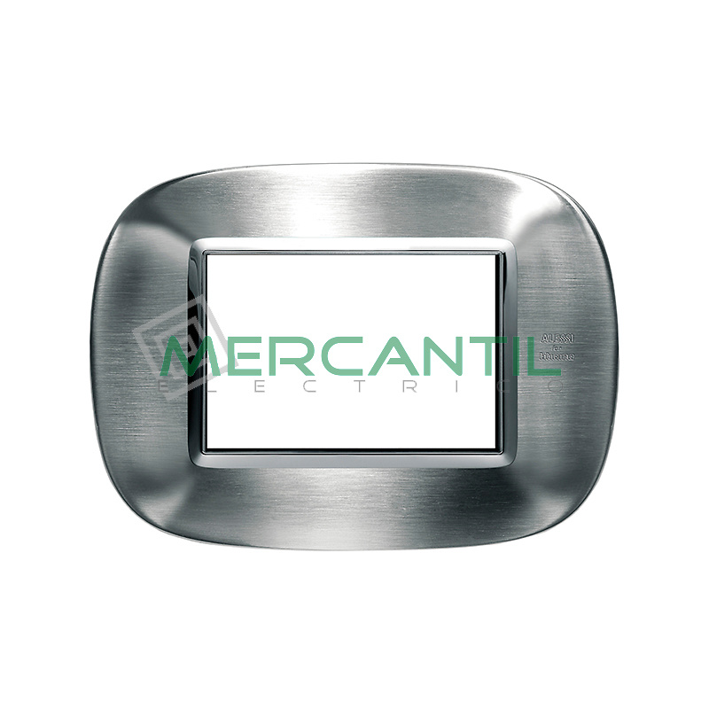 Marco Eliptico Rectangular Axolute BTICINO - Color Acero Satinado