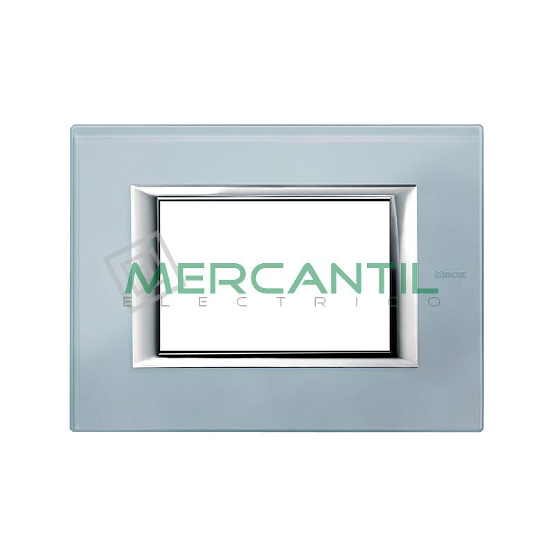 Placa 2+2 m/ódulos horizontal verde sevres Bticino axolute