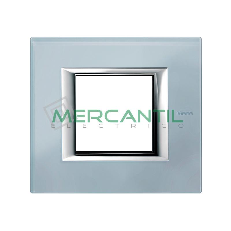Marco Rectilíneo Universal Axolute BTICINO - Color Cristal Azul