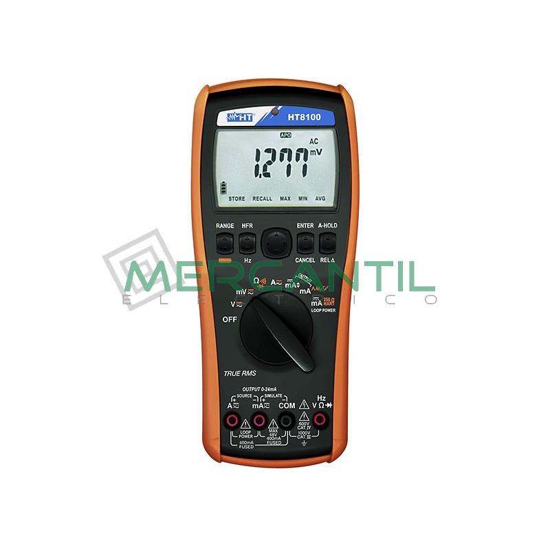 Multimetro Digital Profesional TRMS con Calibrador de Procesos HT8100 HT INSTRUMENTS