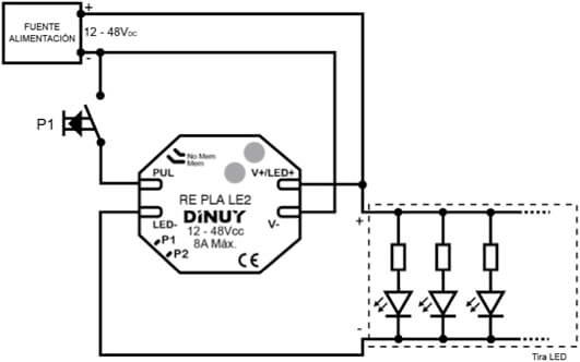 Regulador para tiras led 12 48vcc monocolor 8a dinuy for Regulador para led