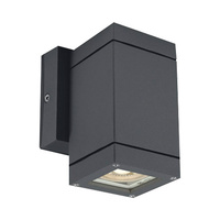 Aplique cuadrado GU10 Max.35W de superficie aluminio antracita IP54 One Light - bombilla GU10 incluida